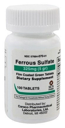 Sun Pharma - Ferrous Sulfate Film Coated Green Tablets 325 mg. - 100 Tablets formerly United Research Labs