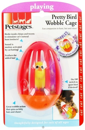 Zoom View - Pretty Bird Wobble Cage Cat Toy