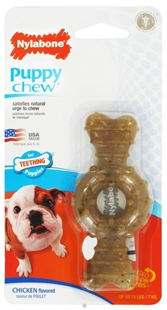 DROPPED: Nylabone - Puppy Chew Ring Petite For Teething Puppies Up To 15 lbs. Chicken Flavored - CLEARANCE PRICED