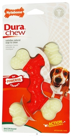 DROPPED: Nylabone - Dura Chew Double Bone Wolf For Powerful Chewers Up To 35 Lbs. Bacon Flavored - CLEARANCE PRICED