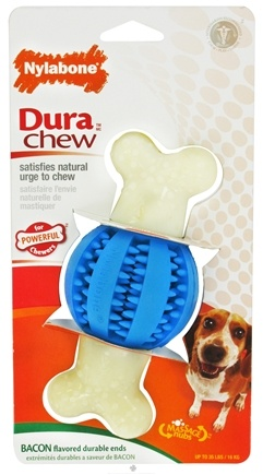 DROPPED: Nylabone - Dura Chew Double Action Dental Chew Ball Wolf For Powerful Chewers Up To 35 lbs. Bacon Flavored - CLEARANCE PRICED