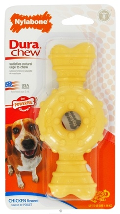 DROPPED: Nylabone - Dura Chew Ring Wolf For Powerful Chewers Up To 35 lbs. Chicken Flavored - CLEARANCE PRICED