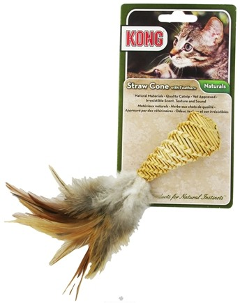 DROPPED: Kong - Naturals Straw Cone With Feathers Cat Toy - CLEARANCE PRICED