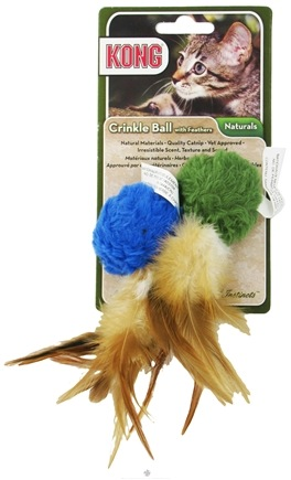 Zoom View - Naturals Crinkle Ball With Feathers Cat Toy