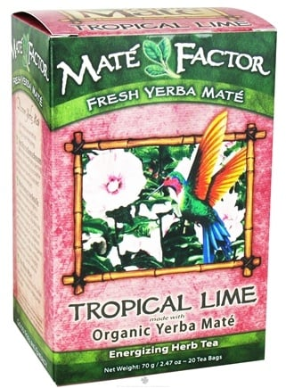 DROPPED: Mate Factor - Organic Yerba Mate Energizing Herb Tea Tropical Lime - 20 Tea Bags CLEARANCE PRICED