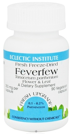 DROPPED: Eclectic Institute - Feverfew Flower & Leaf Fresh Freeze-Dried 350 mg. - 90 Vegetarian Capsules CLEARANCE PRICED