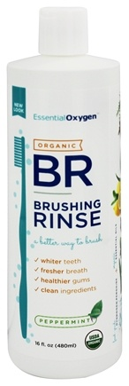 Essential Oxygen - Organic Brushing Rinse Plus Mouthwash Peppermint - 16 oz.