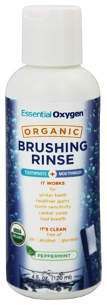 DROPPED: Essential Oxygen - Organic Brushing Rinse Toothpaste Plus Mouthwash Peppermint - 4 oz.