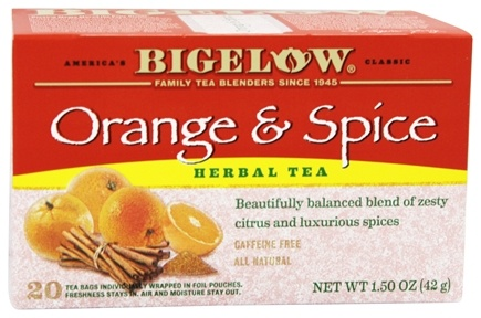 Bigelow Tea - Herb Tea All Natural Caffeine Free Orange & Spice - 20 Tea Bags