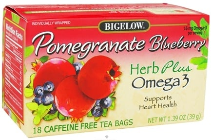 DROPPED: Bigelow Tea - Herb Plus Omega 3 Pomegranate Blueberry - 18 Tea Bags CLEARANCE PRICED