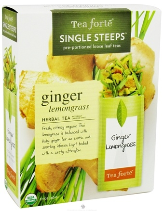 DROPPED: Tea Forte - Herbal Tea Organic Single Steeps Ginger Lemongrass - 12 Packet(s)