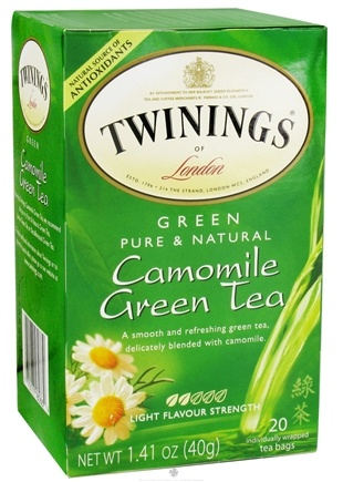 DROPPED: Twinings of London - Green Tea Pure & Natural Camomile - 20 Tea Bags CLEARANCE PRICED