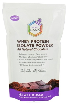 DROPPED: Body Basix - Whey Protein Isolate Powder All Natural Chocolate - 1 lb.