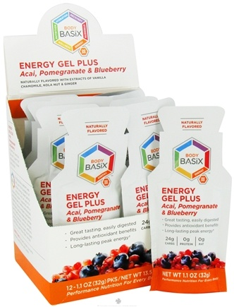 DROPPED: Body Basix - Energy Gel Plus Acai Pomegranate & Blueberry Packet - 1.1 oz. CLEARANCE PRICED
