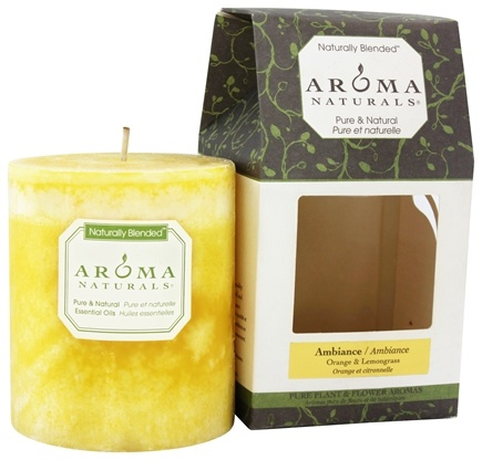 "DROPPED: Aroma Naturals - Ambiance Naturally Blended Pillar Eco-Candle 3"" x 3.5"" Orange & Lemongrass"