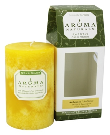 Aroma Naturals - Ambiance Naturally Blended Pillar Eco-Candle Orange & Lemongrass