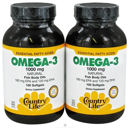 DROPPED: Country Life - Omega-3 Natural Fish Body Oils 1000mg Twin Pack - (100 + 100) Softgels - CLEARANCE PRICED