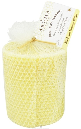 "Zoom View - Bee Soy Happy Medium Honey Pillar Eco-Candle 3"" x 3.5"""