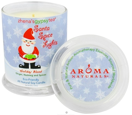 DROPPED: Aroma Naturals - Zhena's Gypsy Tea Santa Spice Lights Holiday Glass Jar Eco-Candle Ginger, Nutmeg and Spices - CLEARANCE PRICED