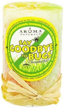 "DROPPED: Aroma Naturals - Say Goodbye to Bugs Citronella Plus Pillar Eco-Candle 2"" x 3"" - CLEARANCE PRICED"