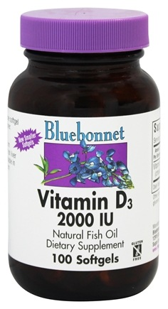 Bluebonnet Nutrition - Vitamin D3 2000 IU - 100 Softgels
