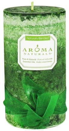 Aroma Naturals - Evergreen Holiday Naturally Blended Pillar Eco-Candle Juniper, Spruce & Basil