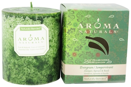 "Zoom View - Evergreen Holiday Naturally Blended Pillar Eco-Candle 3"" x 3.5"""