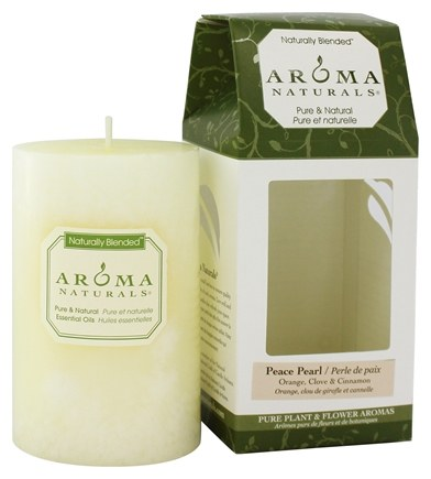"Zoom View - Peace Pearl Naturally Blended Pillar Eco-Candle 2.5"" x 4"""