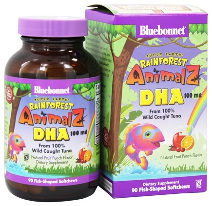 Bluebonnet Nutrition - Animalz DHA From 100% Wild Caught Tuna Natural Fruit Punch Flavor 100 mg. - 90 Soft Chews