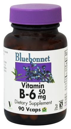 Bluebonnet Nutrition - Vitamin B6 50 mg. - 90 Vegetarian Capsules