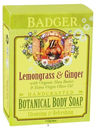 DROPPED: Badger - Handcrafted Botanical Body Soap Lemongrass & Ginger - 4 oz. CLEARANCE PRICED