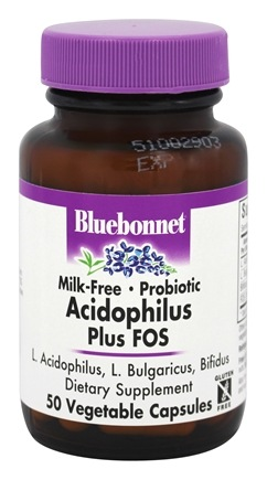 Bluebonnet Nutrition - Acidophilus Plus FOS Milk-Free Probiotic - 50 Vegetable Capsule(s)