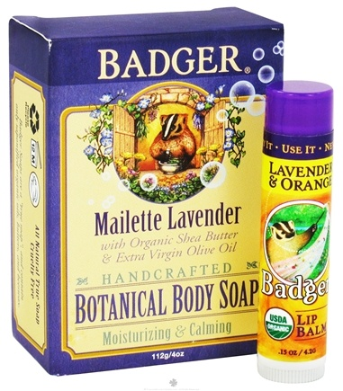 DROPPED: Badger - Botanical Gift Bag With Body Soap & Lip Balm Mailette Lavender - CLEARANCE PRICED