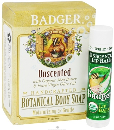 DROPPED: Badger - Botanical Gift Bag With Body Soap & Lip Balm Unscented - CLEARANCE PRICED