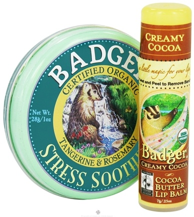 Zoom View - Aromatherapy Gift Bag Stress Soother Balm With Creamy Cocoa Butter Lip Balm