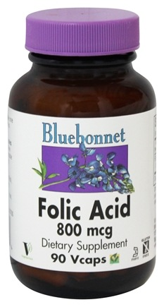 DROPPED: Bluebonnet Nutrition - Folic Acid 800 mcg. - 90 Vegetarian Capsules