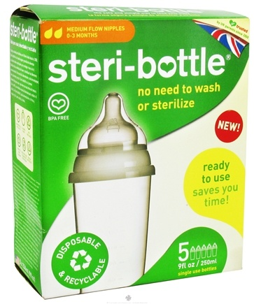 Zoom View - Disposable Baby Bottles Medium Flow Nipples Ages 0-3 months