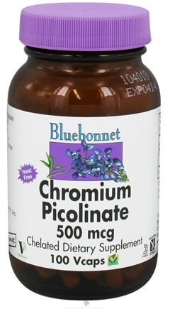 DROPPED: Bluebonnet Nutrition - Chromium Picolinate Chelated 500 mcg. - 100 Vegetarian Capsules CLEARANCE PRICED