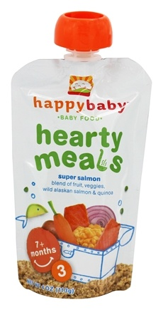 HappyFamily - Organic Baby Food Stage 3 Meals Ages 7+ Months Super Salmon - 4 oz.