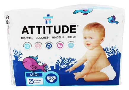 DROPPED: Attitude - Eco-Friendly Baby Diapers Size 3 (11-24 lbs) - 30 Diaper(s)