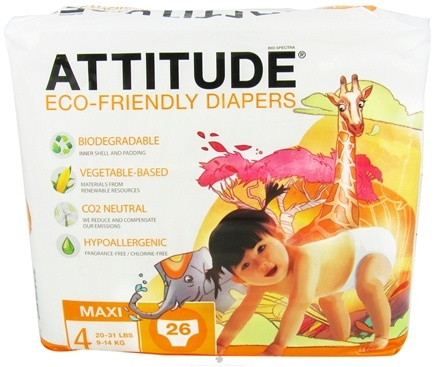 DROPPED: Attitude - Eco-Friendly Baby Diapers Size 4 (20-31 lbs) - 26 Diaper(s) CLEARANCE PRICED