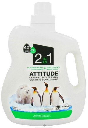 DROPPED: Attitude - 2 in 1 Laundry Detergent + Fabric Softener 40 Loads Mountain Essentials - 60.8 oz. CLEARANCE PRICED