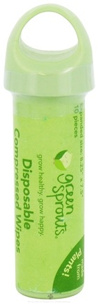DROPPED: Green Sprouts - Disposable Compressed Wipes Keychain - 10 Wipe(s) CLEARANCE PRICED
