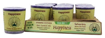 Zoom View - Chakra Energy Votive Candle Happiness