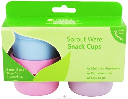 DROPPED: Green Sprouts - Sprout Ware Snack Cups with Lids 3+ Months Stage 2 Assorted Girls Set - 4 Pack CLEARANCE PRICED