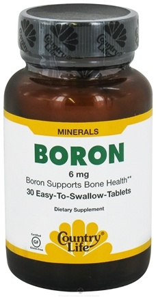 DROPPED: Country Life - Boron 6 mg. - 30 Tablets CLEARANCE PRICED