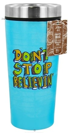DROPPED: Blue Q - Stainless Steel Insulated Travel Mugs Don't Stop Believin' - 15 oz. CLEARANCE PRICED