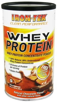 DROPPED: Iron Tek - Whey Protein Concentrate Powder Natural Chocolate Flavor - 14.8 oz. CLEARANCE PRICED