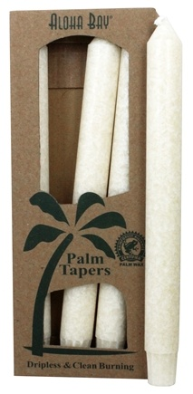 Aloha Bay - Palm Tapers Unscented Candles Ivory - 4 Pack