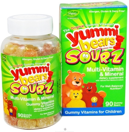 DROPPED: Hero Nutritionals Products - Yummi Bears Sourz Multi-Vitamin & Mineral Gummy Vitamins for Children - 90 Gummies
